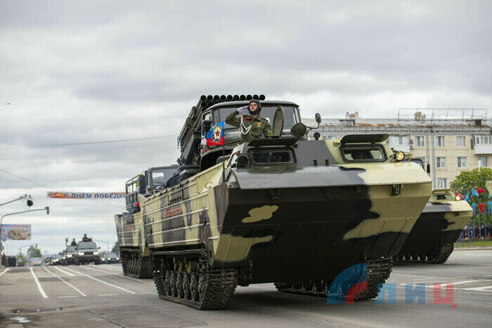 Victory Day Parade marches in central Lugansk to commemorate defeat of Nazism, Lugansk, May 9, 2021