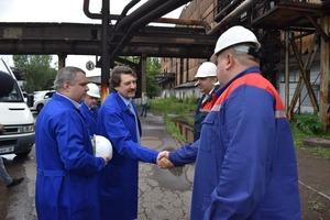 Посещение инвестором Евгением Юрченко металлургического комбината, Алчевск, 18 июня 2021 года